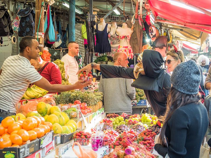 Masked Man Buying Strawberries, Tel Aviv, Israel