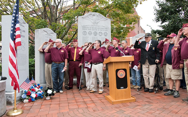 09/11/18 Wesley Bunnell | Staff New Britain unveiled its newest monument in Central Park which is dedicated to the War on Terror following the 9/11 attacks. Members of the Northwestern Veterans T.G.M. Memorial Post salute.