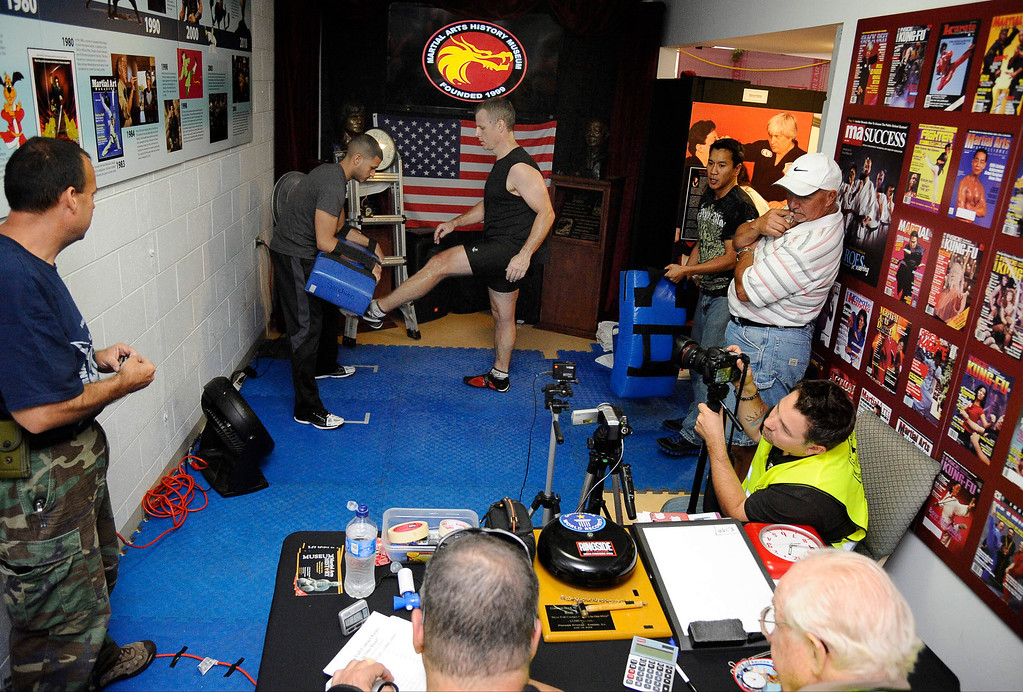 . Actor/stuntman Ron Sarchian  set a new Guinness world record by full contact kicking a bag 6,000 times in one hour and did it by 6,012 at the Martial Arts History Museum in Burbank.  The last record for this was set in 2007 and Ron Sarchian  now hold\'s 6 guinness world records Photo by Gene Blevins/LA Daily News