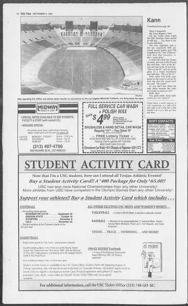 Daily Trojan, Vol. 121, No. 7, September 09, 1993