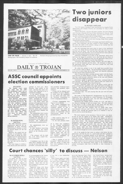 Daily Trojan, Vol. 64, No. 8, September 29, 1971