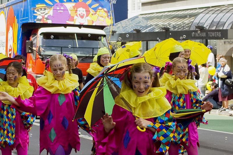 Yellow and pink Santa Parade Auckland New Zealand - 27 Nov 2005