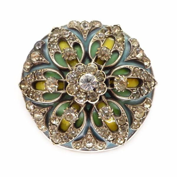 Antique Art Nouveau Plique-à-Jour Floral Paste Motif Brooch