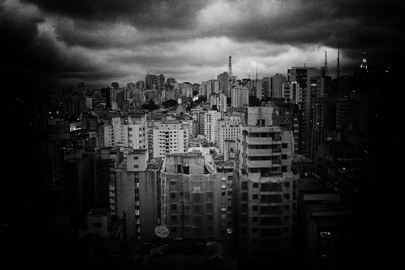 Pinhole camera edit to a rooftop shot of São Paulo, Brazil. June 2014.