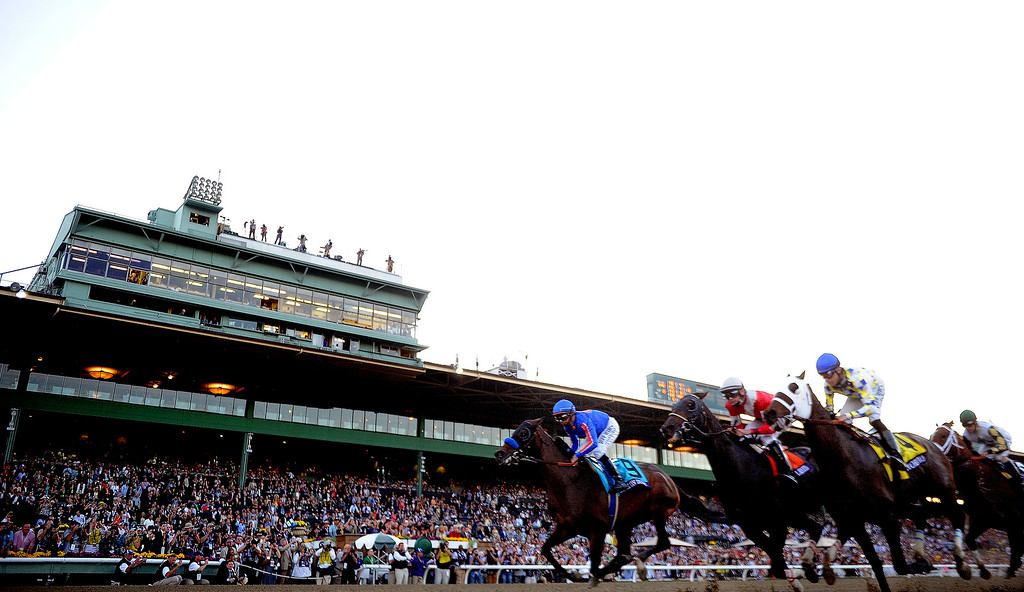 ". Jockey Gary Stevens atop ""Mucho Macho Man\"" (6) wins the Breeders\' Cup Classic race worth 5 million dollars ahead of jockey Luis Saez atop \""Will Take Charge\"" (Place) and jockey Joseph O.Brien atop \""Declaration of War\"" (show) during the Breeders\' Cup at Santa Anita Park in Arcadia, Calif., on Saturday, Nov. 2, 2013.    (Keith Birmingham Pasadena Star-News)"