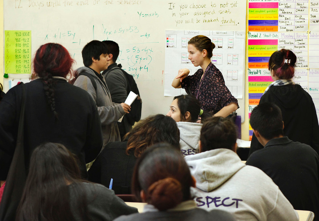 . Audrey Gross starts her algebra class by telling students only those that have kept pace with their studies can sit at unassigned desk at ACE Charter High School in San Jose, Calif. on Wednesday, Dec. 05, 2012. The school is in its first year of existence. (Karl Mondon/Staff)