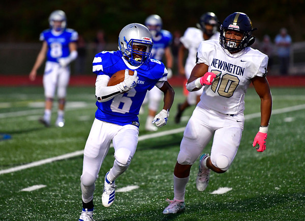 9/20/2019 Mike Orazzi | StaffrBristol Eastern's Treyvon Daniel (6) and Newington's Julian Mulero (10) during Friday night football in Bristol. rrrrrr