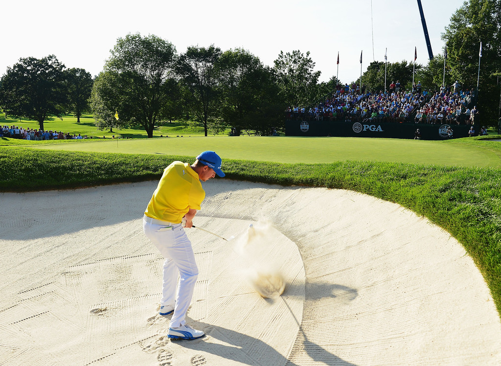 . Jonas Blixt of Sweden plays a bunker shot during the final round of the 95th PGA Championship on August 11, 2013 in Rochester, New York.  (Photo by Stuart Franklin/Getty Images)