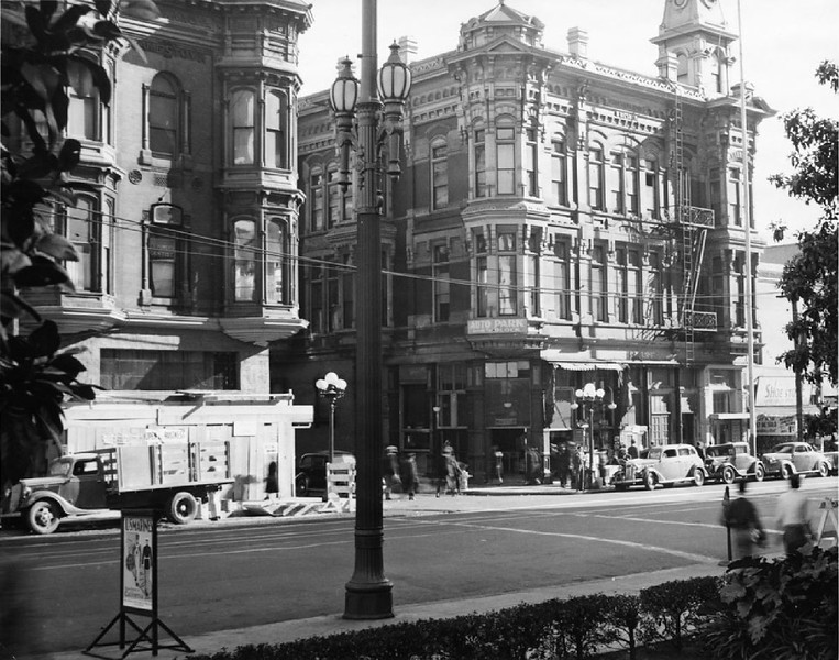 Exterior view of the U. S. Hotel, built circa 1860s and demolished in March 1939, 1939