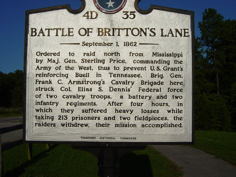 Marker at Britton Lane Battlefield