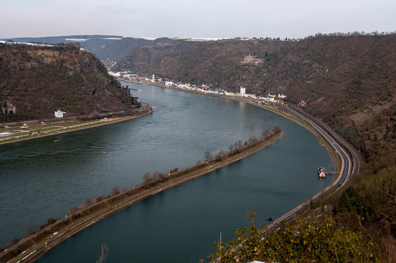 River Rhine Gorge at Upper Middle Rhine Valley in Germany