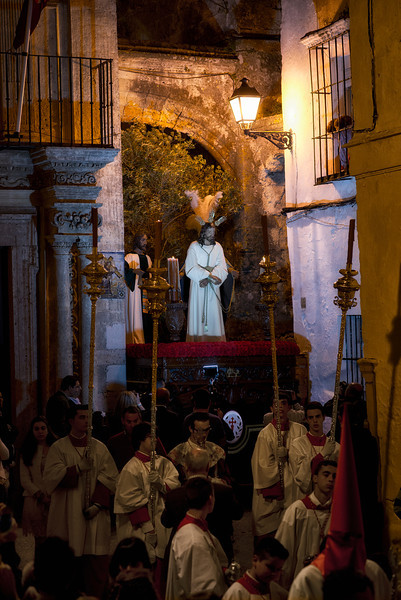 An image of Christ is taken around the narrow streets of the village during an Easter processions.  Arcos de la Frontera, Andalucia, Spain, 2014