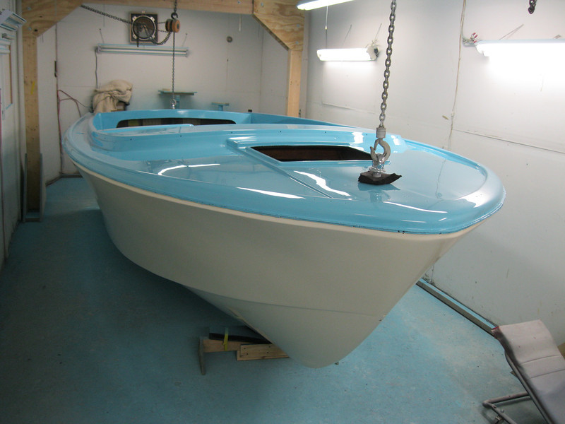 Front starboard view of the buffing completed and the hull unmasked.