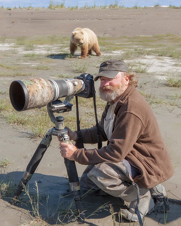 Photographing brown bears in Lake Clark National Park, AK.  Not the best time to ham it up for the camera. (photo by Jose Hernandez, 7/12)