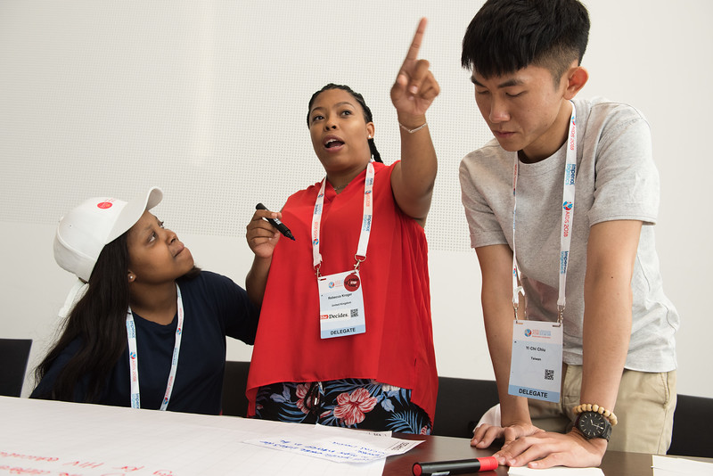 22nd International AIDS Conference (AIDS 2018) Amsterdam, Netherlands   Copyright: Marcus Rose/IAS  Photo shows: IAS membership World Café with Youth Ambassadors