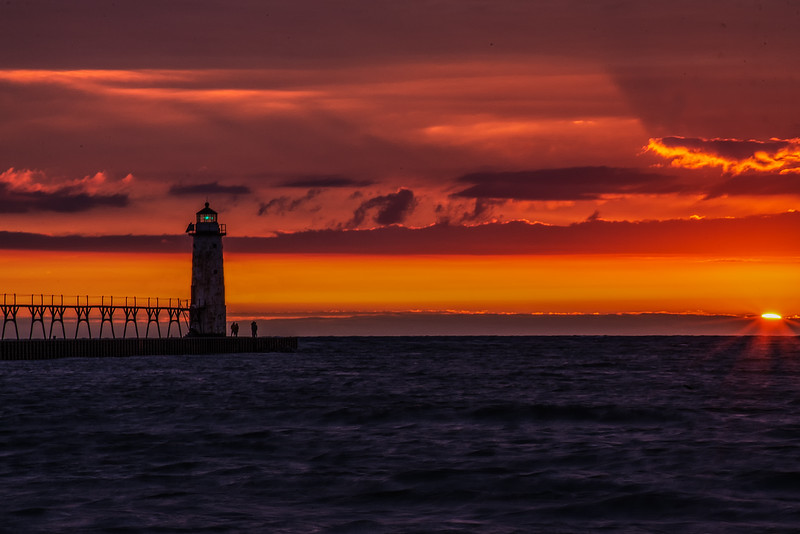 Manistee Michigan Lighthouse Sunset-Almost Gone