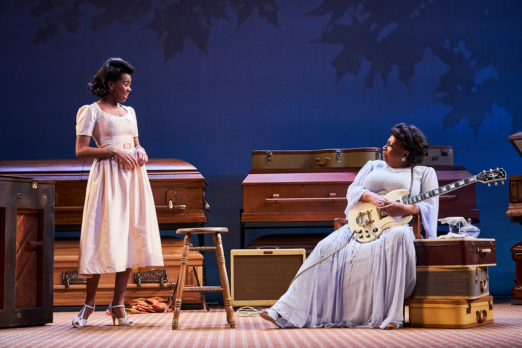 . Chaz Hodges, left, portrays Marie, and Miche Braden is Sister Rosetta in the Cleveland Play House�s �Marie and Rosetta.� The show continues through Feb. 11 at the Allen Theatre at Playhouse Square. For more information, visit www.clevelandplayhouse.com. (Roger Mastroianni)