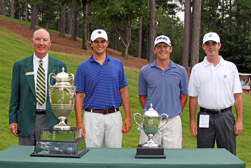 Beau Hossler, second from left, (13) and Kramer Hickok (4) before their opening match during the 111th Western Amateur at The Alotian Club in Roland, AR. (WGA Photo/Ian Yelton)