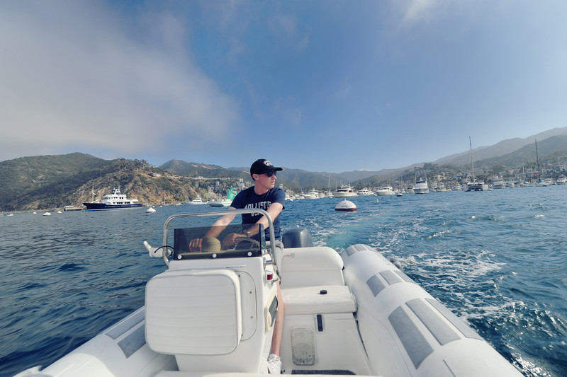 Driving the boat off Catalina