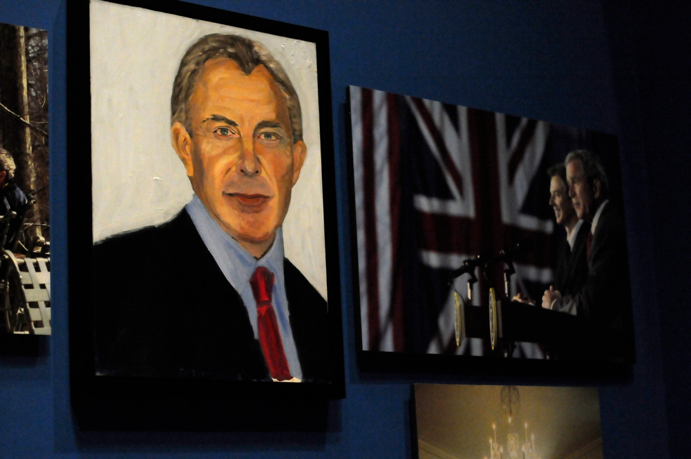 """. A portrait of former British Prime Minister Tony Blair which are part of the exhibit \""""The Art of Leadership: A President\'s  Diplomacy,\"""" is on display at the George W. Bush Presidential Library and Museum in Dallas, Friday, April 4, 2014. (AP Photo/Benny Snyder)"""