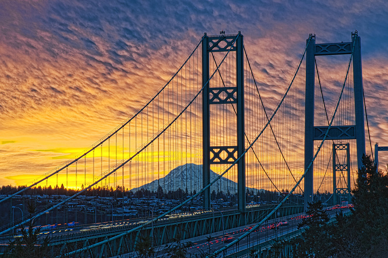 "Narrows Bridge Sunrise 01/11/2012. Seven image HDR processed with CS5 and added a little Topaz 5 ""Crisp""."
