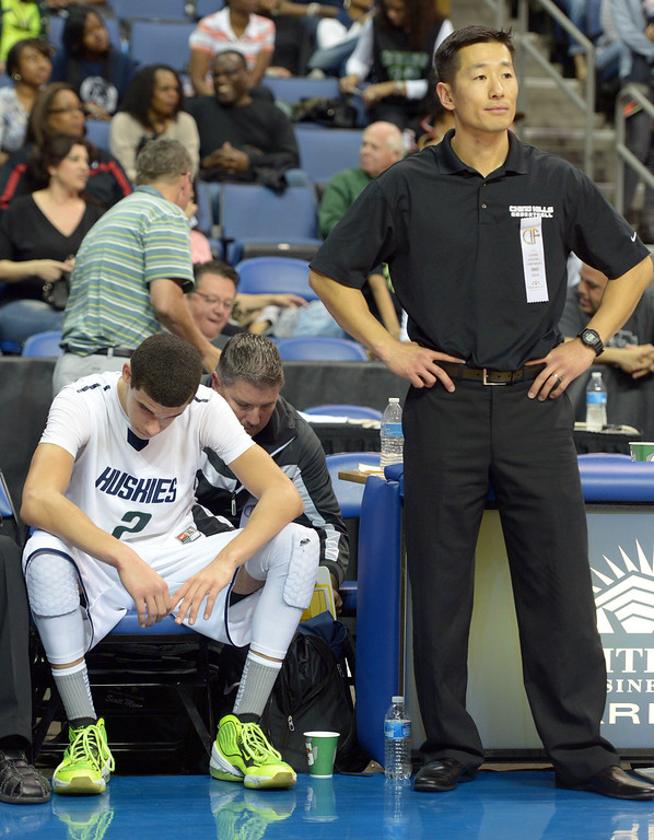 . Chino Hills coach Steve Baik and player Lonzo Ball after the loss at Citizens Business Bank Arena in Ontario, CA on Saturday, March 22, 2014. Chino Hills vs Centennial in the CIF boys Div 1 regional final. 2nd half. Centennial won 80-73 in overtime, Photo by Scott Varley, Daily Breeze)
