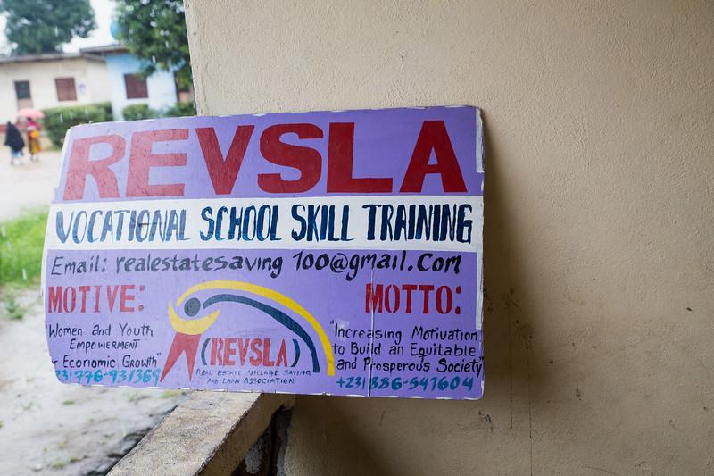 Monrovia, Liberia October 6, 2017 -  Signage for he REVSLA Vocational School Skill Training.