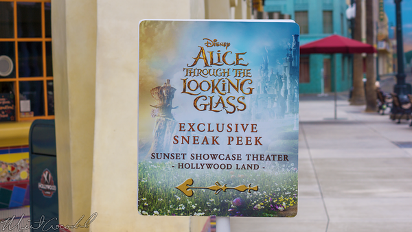 Disneyland Resort, Disney California Adventure, Hollywood Land, Sunset, Showcase, Theater, Alice, Looking, Glass, Sneak, Peek, Sign