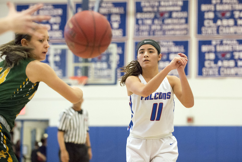 01/20/20  Wesley Bunnell | Staff  St. Paul Catholic girls basketball defeated Holy Cross 53-50 at home on Monday afternoon. Janessa Gonzalez (11).