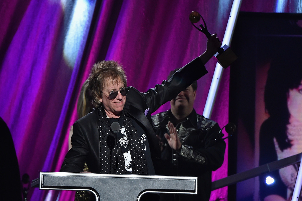 . Inductee Ricky Byrd of Joan Jett and The Blackhearts speaks onstage during the 30th Annual Rock And Roll Hall Of Fame Induction Ceremony at Public Hall on April 18, 2015 in Cleveland, Ohio.  (Photo by Mike Coppola/Getty Images)