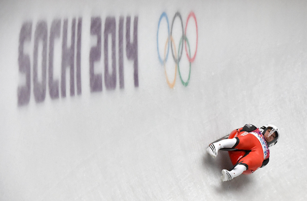 . Birgit Platzer of Austria in action during the Women\'s Luge second run at the Sanki Sliding Center at the Sochi 2014 Olympic Games, Krasnaya Polyana, Russia, 10 February 2014.  EPA/TOBIAS HASE