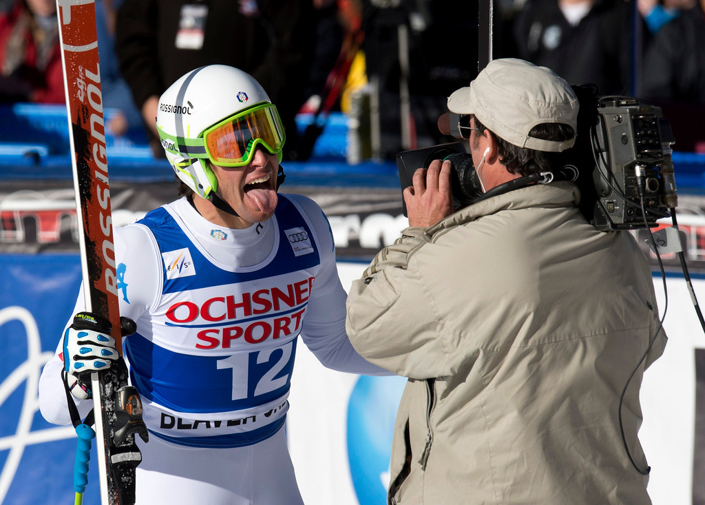 . Matteo Marsaglia of Italy sticks his tongue out at the cameraman after winning the FIS Alpine World Cup men\'s Super G on December 1, 2012 in Beaver Creek, Colorado.     DON EMMERT/AFP/Getty Images
