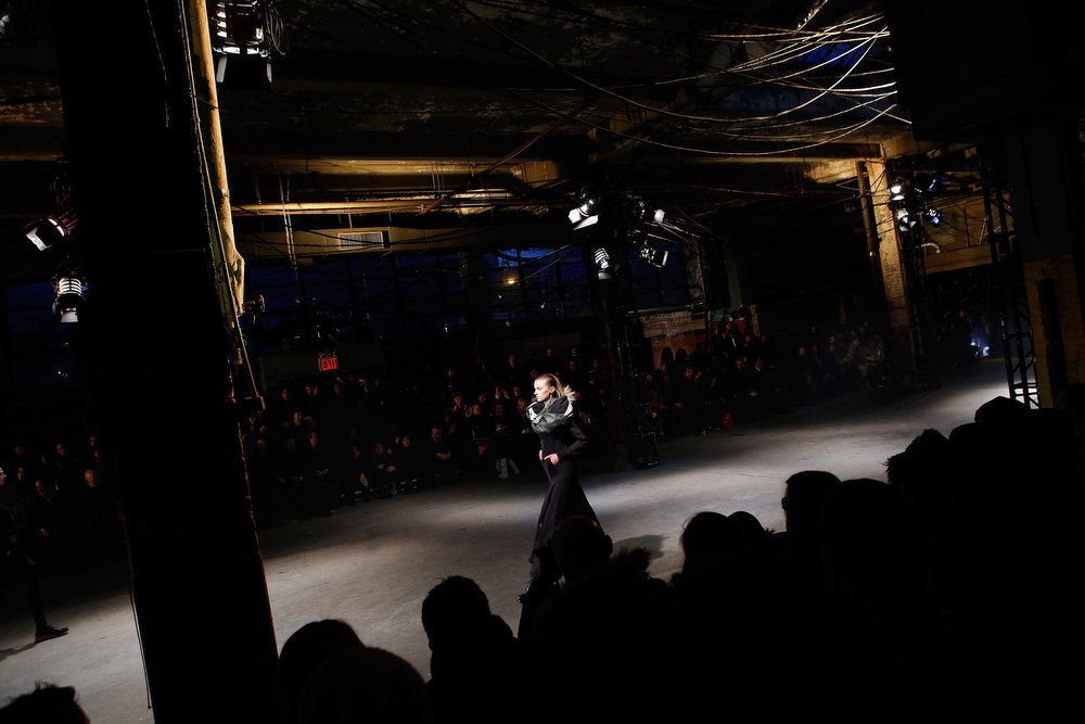 . A model walks the runway at the Y-3 AW13 Show during Mercedes-Benz Fashion Week on February 10, 2013 in New York City.  (Photo by Jemal Countess/Getty Images for Y-3)