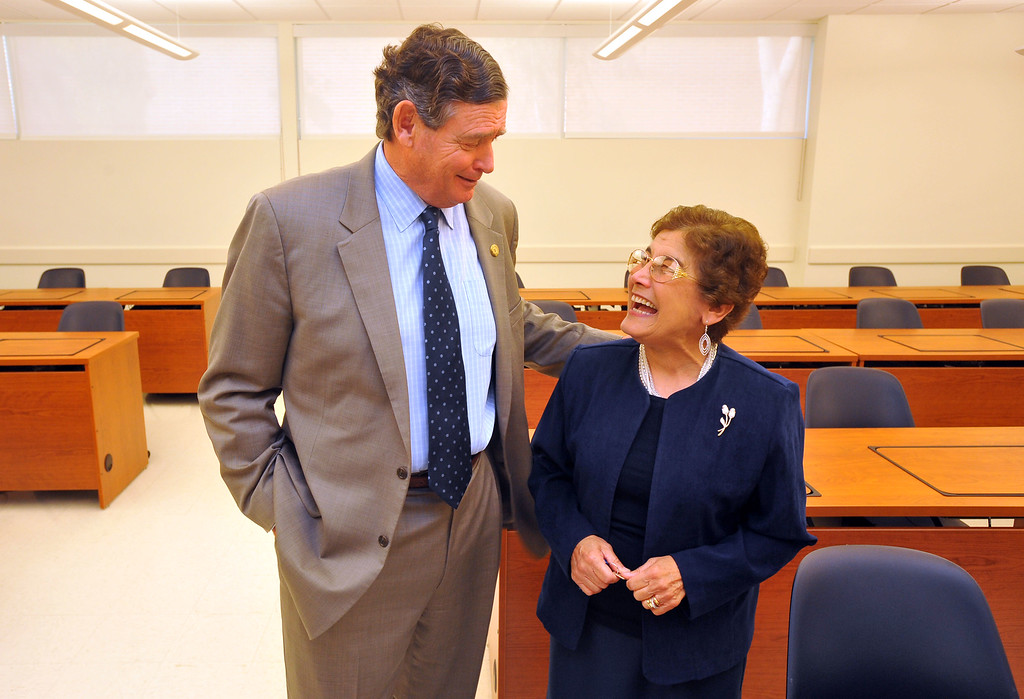 . CSU Chancellor Timothy P. White shares a laugh with School of Nursing Director Dr. Lucy Huckabay during his tour of Cal State Long Beach on Monday, October 14, 2013. Huckabay took White through some classrooms and labs at the nursing facility as was showing him a new classroom. (Photo by Scott Varley, Daily Breeze)