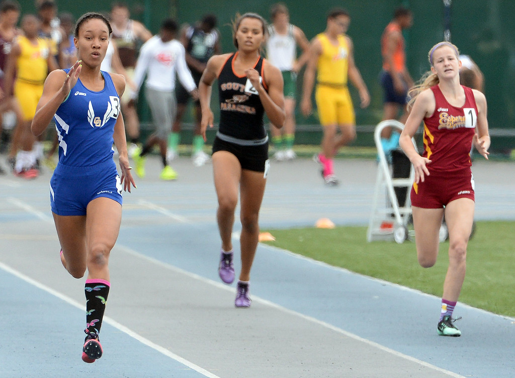 . Charter Oak\'s Morgan Love competes in the division 3 400 meters race during the CIF Southern Section track and final Championships at Cerritos College in Norwalk, Calif., Saturday, May 24, 2014.   (Keith Birmingham/Pasadena Star-News)