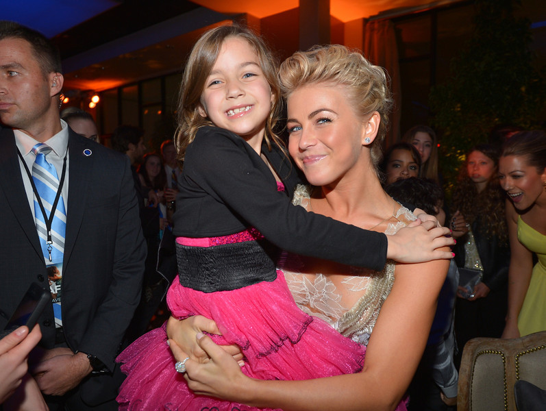 """. Actresses Julianne Hough (R) and Mimi Kirkland attend the premiere of Relativity Media\'s \""""Safe Haven\"""" after party at The Terrace At Hollywood & Highland on February 5, 2013 in Hollywood, California.  (Photo by Alberto E. Rodriguez/Getty Images for Relativity Media)"""