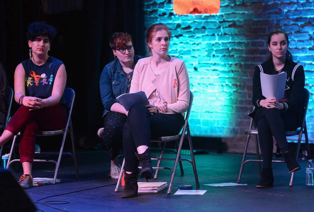 . Evan Kerr, Makayla Sharkey, Kailyn Erb and Jordan Michelena listen to the panel during the Town Hall for our Lives event, April 7, 2018, in Chico, California. (Carin Dorghalli -- Enterprise-Record)