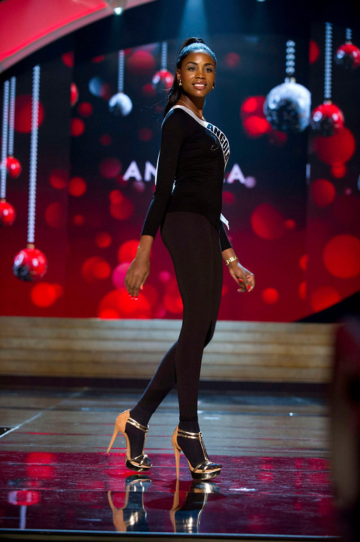 . Miss Angola 2012, Marcelina Vahekeni, rehearses for the 2012 Miss Universe Presentation Show in Las Vegas, Nevada, December 13, 2012.  The Miss Universe 2012 pageant will be held on December 19, 2012 at the Planet Hollywood Resort and Casino in Las Vegas. REUTERS/Darren Decker/Miss Universe Organization L.P/Handout