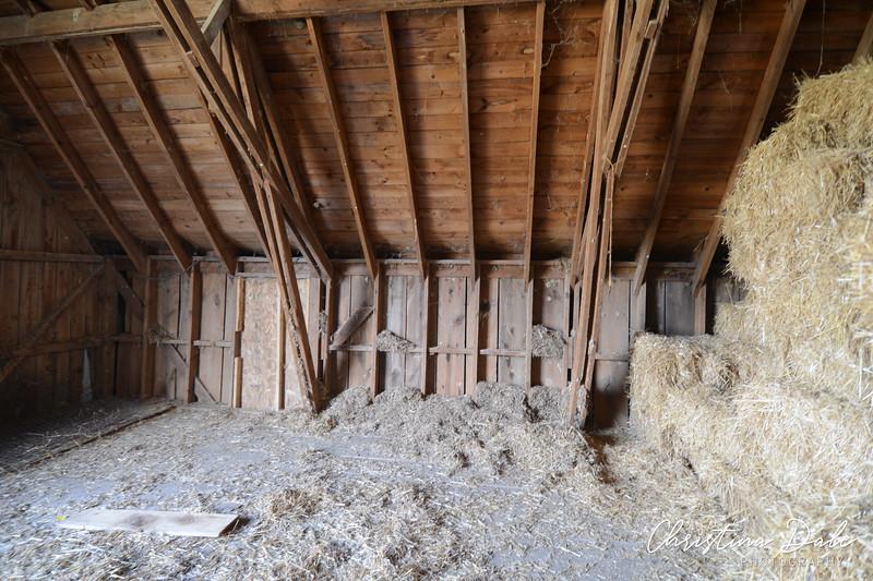 Inside hay loft