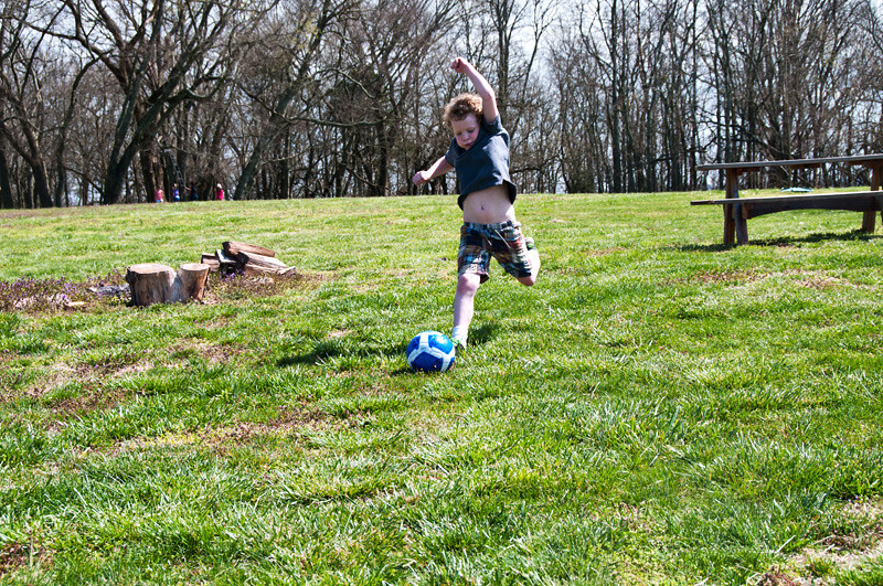 Only one picture from our picnic... but a good one.  Jackson enjoyed kicking his soccer ball and even found a few kids to play with a bit.  All in all a lovely day.