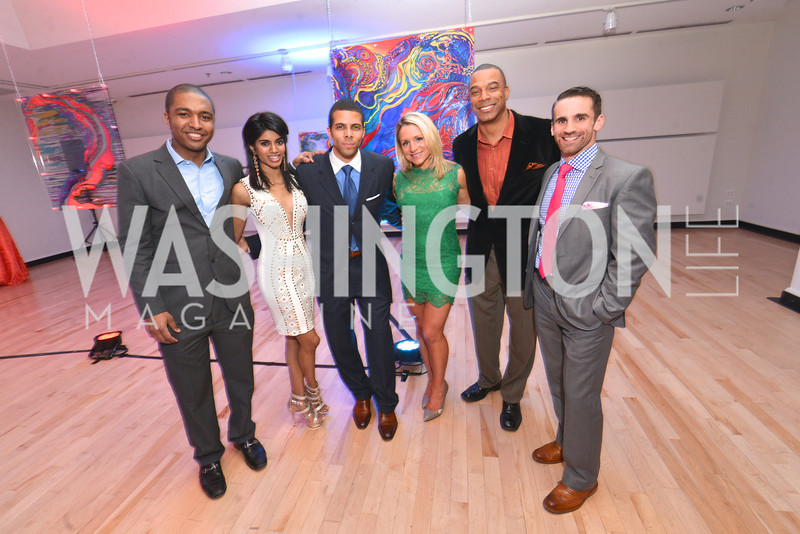 Rich Counts, Bindhu Pamarthi, Lawrence O'neal, Stacy Adams, John Fitzgerald Booty, Jeff Cullen, Washington Life Magazine hosts the 8th Annual Young and the Guest List party at the Carnegie Library.  Photo by Ben Droz.