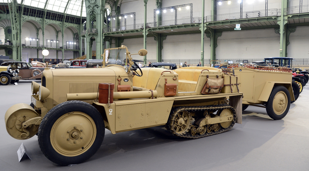 . A Citroen P19B Kegresse Autochenille (1931) is pictured as luxury vintages cars are displayed at an auction at the Grand Palais on February 6, 2013 in Paris. 125 vintage motor cars, 100 collection motorbikes and a 1920\'s Gipsy Moth plane by De Havilland, will be presented at the Bonhams auction on February 7.  BERTRAND GUAY/AFP/Getty Images