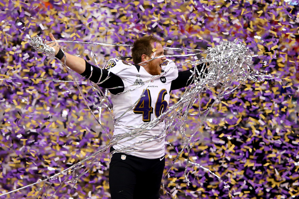 . Morgan Cox #46 of the Baltimore Ravens celebrates after defeating the San Francisco 49ers during Super Bowl XLVII at the Mercedes-Benz Superdome on February 3, 2013 in New Orleans, Louisiana.  (Photo by Al Bello/Getty Images)