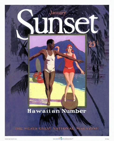 196: Sunset Magazine. 'Hawaiian Number.' Cover, ca 1930's.