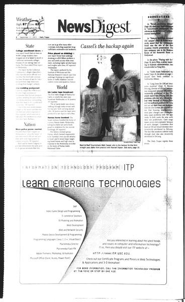 Daily Trojan, Vol. 150, No. 12, September 11, 2003