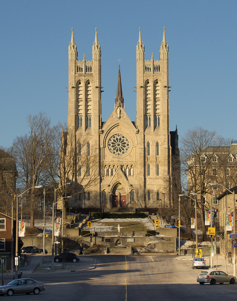 Church of Our Lady in Guelph dominating the skyline in early morning light