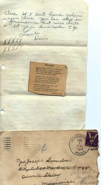 To Joseph Snowdeal from his future wife Doris T Look Feb 1 1943