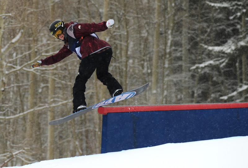 . Spencer O\'Brien of Canada during the women\'s slope style final of the Burton U.S. Open. Vail, Colorado. March 7. 2014. (Photo by Hyoung Chang/The Denver Post)