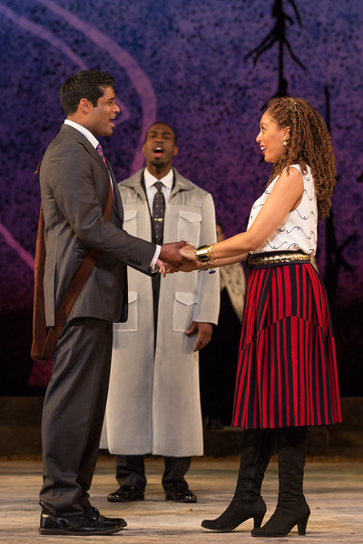 "Sean Panikkar as Tamino, Soloman Howard as Sarastro and Jacqueline Echols as Pamina in The Glimmerglass Festival's 2015 production of Mozart's ""The Magic Flute."" Photo: Karli Cadel/The Glimmerglass Festival"