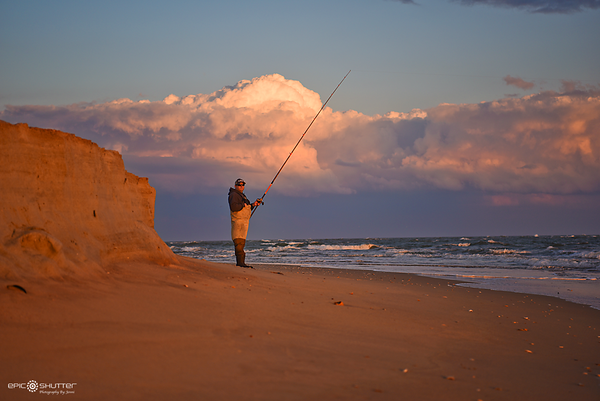 March 3, 2016, Fishing at Cape Point, Sunset, Hatteras Island, NC